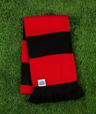 Saracens RFC Colours Retro Bar Scarf - Red & Black - Made in UK
