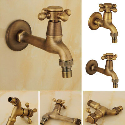 Antique Brass Copper Wall Mounted Faucet Sink Washing Machine Water Tap Natural