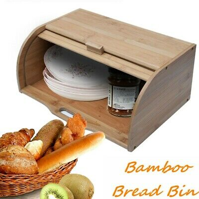Roll Top Bamboo Bread Box Wooden Container Home Kitchen Food Storage Bin Holder