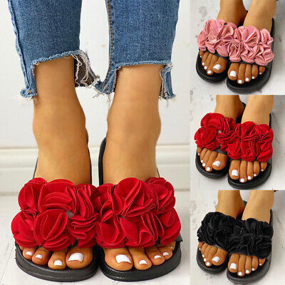 Womens Slip On Sandals Flat Flower Sliders Slippers Comfy Flip Flop Shoes Size