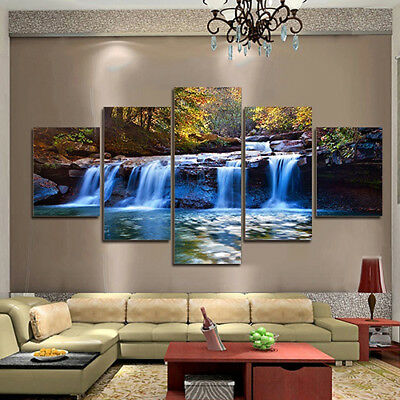 EP_ 5pcs Unframed Waterfall Wall Art Pictures Canvas For Living Room Home Decor