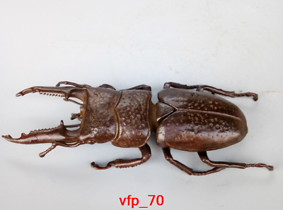 old China antique Pure copper insect beetle statue