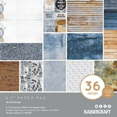 "Kaisercraft 'WORKSHOP' 6.5"" Paper Pad Men's/Cogs/Bike/Father's Day KAISER PP1073"