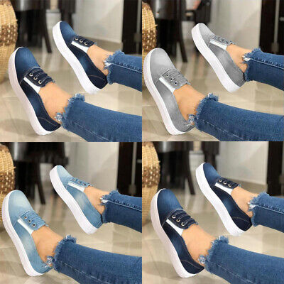 Womens Ladies Slip On Flat Denim Trainers Pumps Casual Loafers Comfy Shoes Sizes