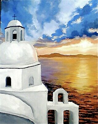 Santorini Greece Sunset By Fake 3d Window Canvas Rolled