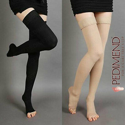 Toeless Thigh High Compression Socks For Men & Women Silicone Band PEDIMEND New