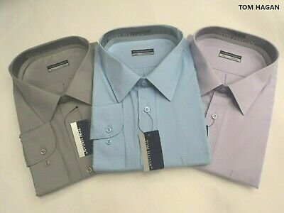 New Big Sizes Long Sleeves Summer Poly Cotton Plain Shirt By Tom Hagan 3,4,5,6XL