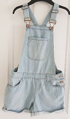 New Look Girl's Light Wash Denim Short Dungarees Age 12 Worn Once Exc Cond