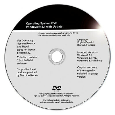 Windows 8.1 32 & 64 Bit - Install - Restore - Repair - Recovery DVD Drive Disk