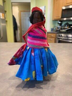 Hand Carved Mexican Folk Art Wood Indian Doll Baby on Back Poncho