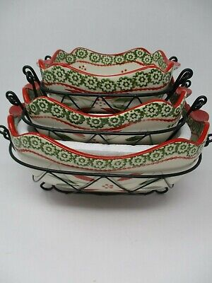 Temp-tations 3 Pc Old World Holiday Christmas Nesting Bowls With Wire Racks New