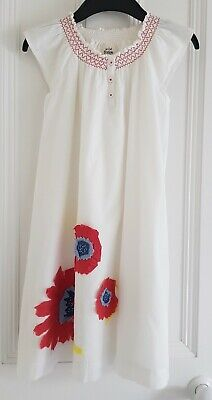 Mini Boden Girl's Floaty Dress White Large Red/Blue/Yellow Flowers 7-8 Worn Once