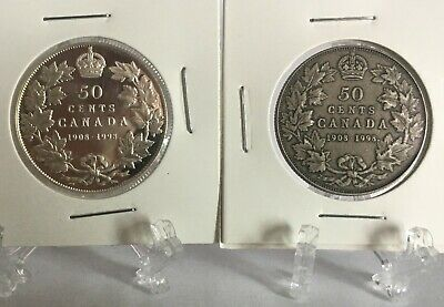 1908-1998 Canada Sterling  And Antique Sterling Silver 50 Cent Coins  2 Coin Set