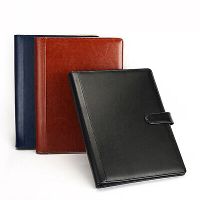 A4 Document File Folder PU Leather Conference Notebook Briefcase Padfolio
