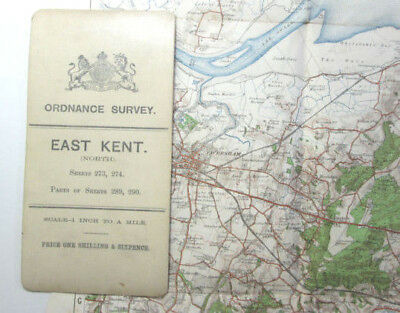 1906 Antique OS Ordnance Survey One-Inch Third Edition Map East Kent (N) 273 274