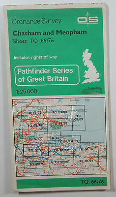 1972 old OS Ordnance Survey Pathfinder 1:25000 map Chatham and Meopham TQ 67/87