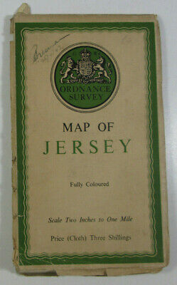 1933 Old Vintage OS Ordnance Survey Half-Inch CLOTH Map of Jersey Fully Coloured