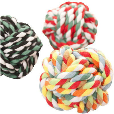 10X(Pet Puppy Knot Twine ball Rope Dogs Cottons Chews Toy Ball Play Braided J7G8