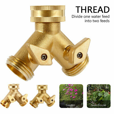 Two Way Double Garden Tap Splitter 3/4 THREAD Hose Pipe Faucet Connector Adaptor