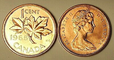 Both 1965 SBB5 & LBB5 CANADA 1 Cent BU Copper Penny From Mint Roll UNC