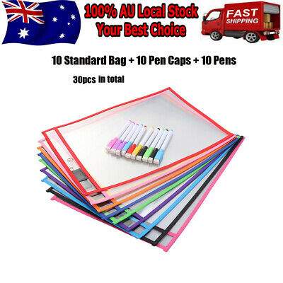 10x Dry Erase Pocket Sleeves Reusable Bag Stationery Set for Kids Pupils Office
