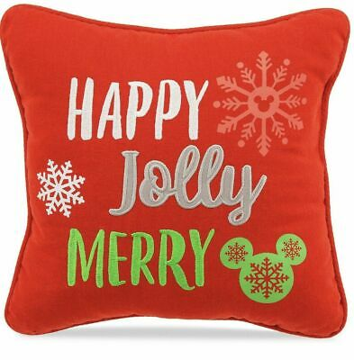 NEW Disney Parks HAPPY JOLLY MERRY Nordic Holiday Christmas Square Throw Pillow