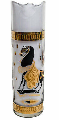 FRED PRESS CLEAR-GLASS PITCHER TROJAN HORSE PATTERN IN BLACK with 22k GOLD TRIM
