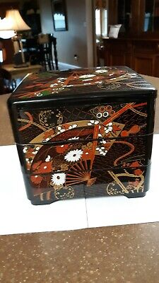 Vintage Oriental  Black Lacquered 3 Tray Stackable Storage/jewerly Box