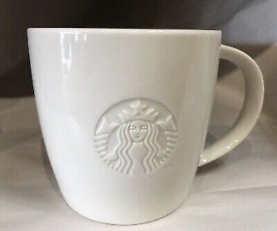 STARBUCKS 2010 WHITE PORCELAIN COFFEE CUP MUG VENTI 20oz EMBOSSED MERMAID LOGO
