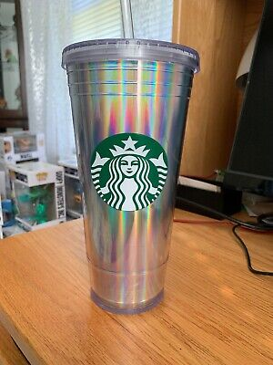2498ecaac9b NEW Starbucks Holiday 2018 Iridescent Tumbler Plastic Holographic Rainbow  20 oz