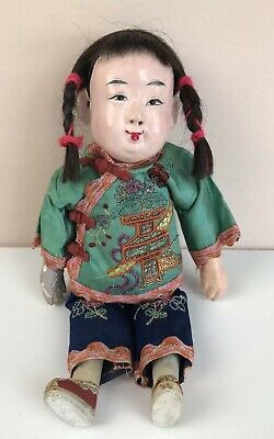 """Antique Chinese Girl Doll Composition 10"""" Asian Embroidered Clothing Red Braids"""