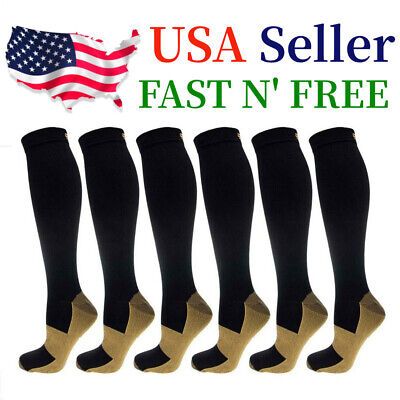 (6 Pairs) Copper Compression Socks Calf Foot Support 20-30mmhg Miracle Men Women