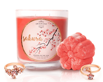 Fragrant Jewels SAKURA set-candle + bath. New in Manufacturer's box. Ring size 5