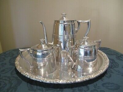 Art Deco 3 Piece Monarch Silver Plate Tea Set With Silver Plate Tray