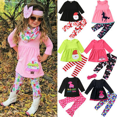 USA Kids Baby Girls Christmas Unicorn Tops Dress +Pants Leggings Outfits Clothes