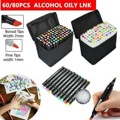 60/80 Color Marker Pen Set Graphic Art Sketch Twin Point Broad Point Copic Touch