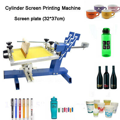 Manual Cylinder Screen Printing Machine For Pen Cup Bottle Press with Silk Frame
