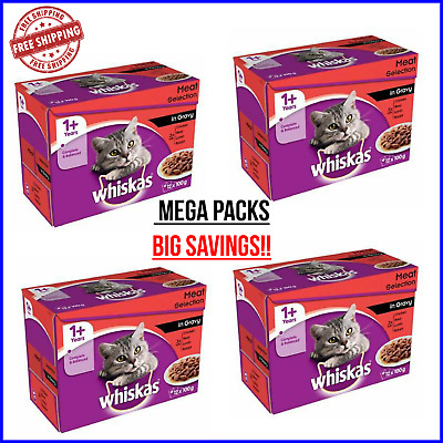 WHISKAS 1+ Adult Wet Cat Food Meat Selection In Gravy MEGA PACKS - 100g Pouches