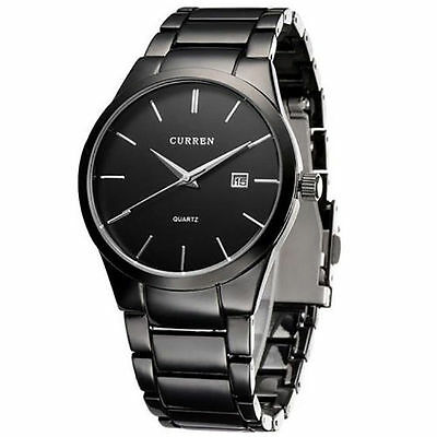 Mens Watches Classic Black/Silver Steel Band Quartz Analog Wrist Watch With Date