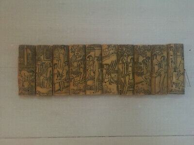 Vintage Hand Carved Kama Sutra Collectible Art 10 Panels 20 Images