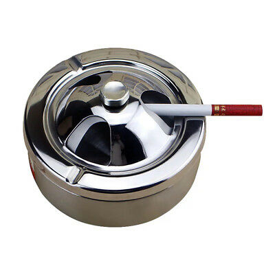 1pc Stainless Steel Ashtray with lid Desktop Windproof Ash Tray for Office Decor