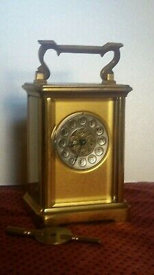 Antique 8 Day French Carriage Clock.Great Timekeeper. Height 12cm Serviced +Key.