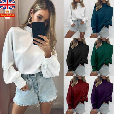 Women Collared Shirt Tops Ladies Plain Blouse Pullover Long Puff Sleeve Casual