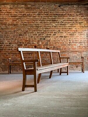 Antique French Oak Benches Pair Long Painted Distressed 19th Century Circa 1890