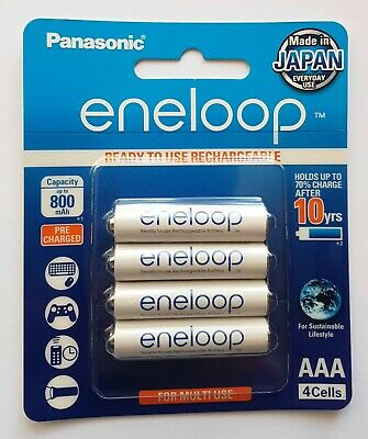 4x Panasonic Eneloop rechargeable LSD NiMH AAA batteries *Made in Japan*