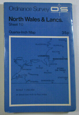 1974 Old OS Ordnance Survey Quarter-Inch Fifth Series Map 10 North Wales & Lancs