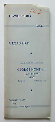 Approx 1949 old vintage Road Map of Tewksbury and District