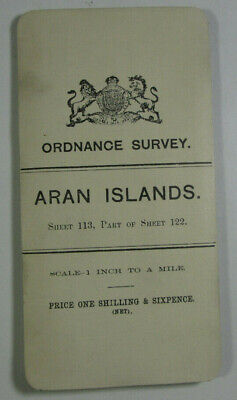 1905 Old OS Ordnance Survey Ireland One-Inch Second Edition Map 113 Aran Islands