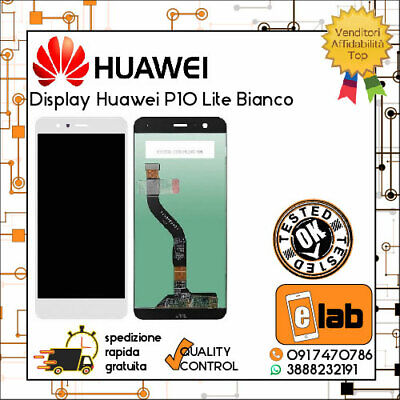 Display Lcd Touch Screen Per Huawei P10 Lite Bianco Was-Lx1A Lx1 Vetro Schermo