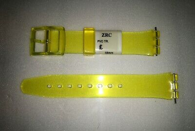 Replacement 17mm (20mm) Watch Strap for SWATCH - Transparent Yellow Resin